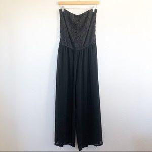 HeartSoul Black Tube Lace Jumpsuit Dress Sz Large